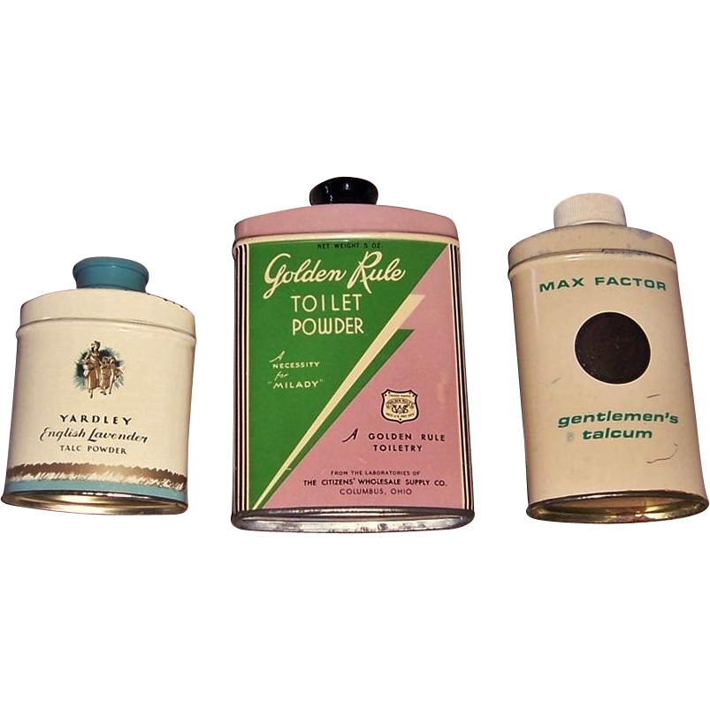 Vintage Golden Rule, Max Factor Gentlemen's, & Yardley English Lavender Talc Powder Tins