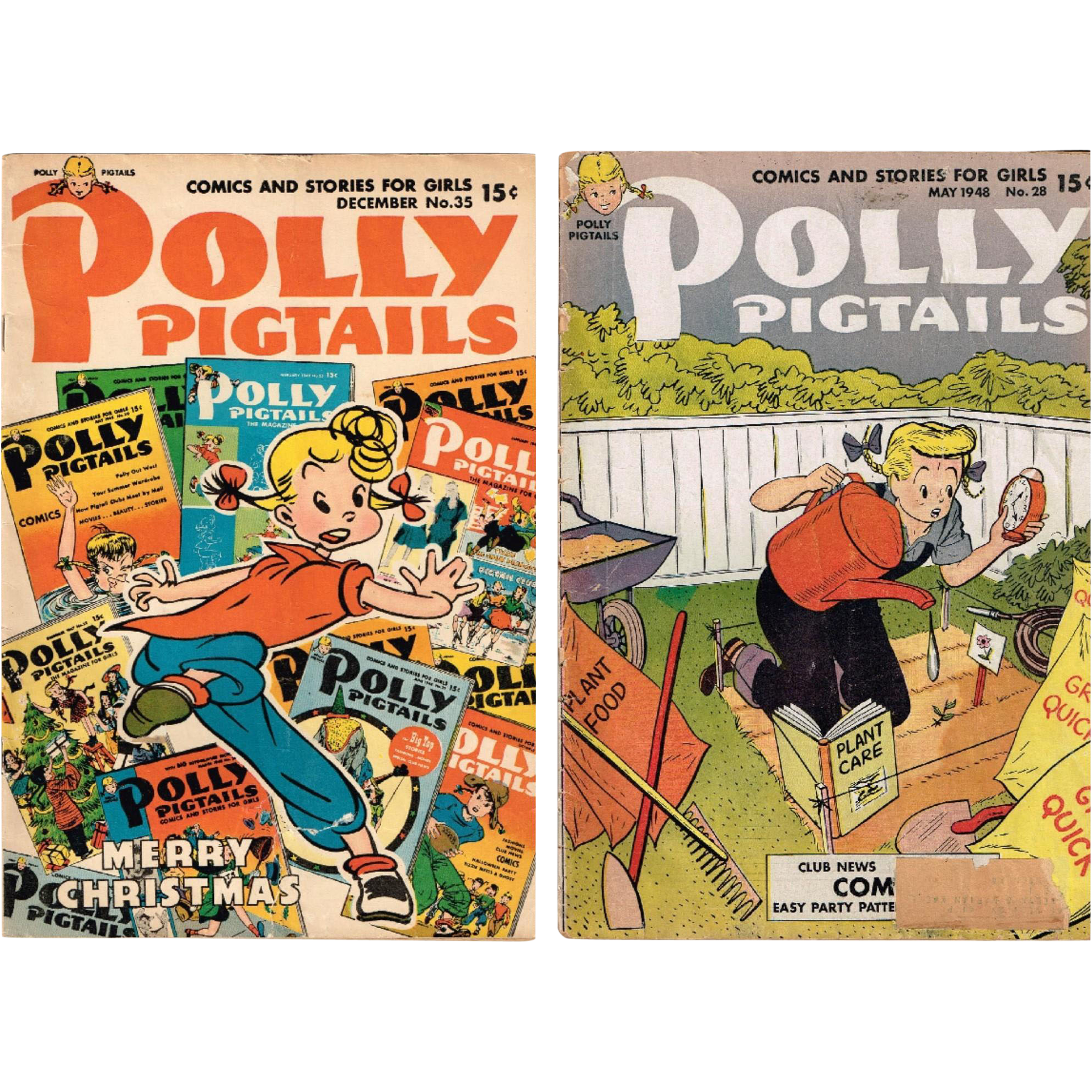 Two 1948 Polly Pigtails Comics and Stories for Girls, No. 28 and 35