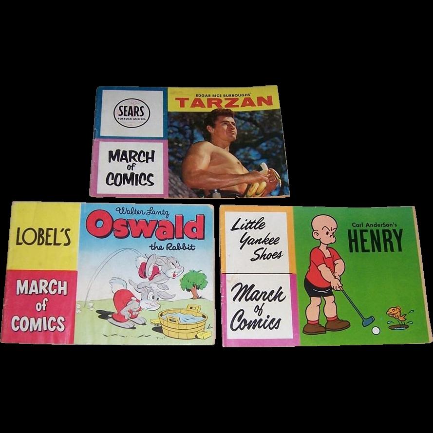 Three March of Comics...1957 Tarzan, 1959 Henry, and 1952 Oswald the Rabbit Comic Books