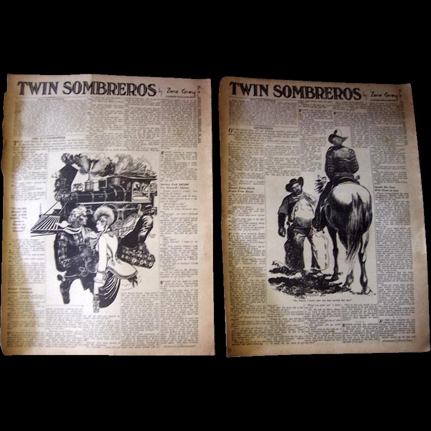 "1940 ""Twin Sombreros"" Western Novel by Zane Gray, Complete in NY Sunday News"