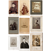 Nine Vintage Studio Cabinet Cards of Adults, Turn of the Century