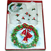Vintage Treasure Masters Christmas Embroidered Handkerchief