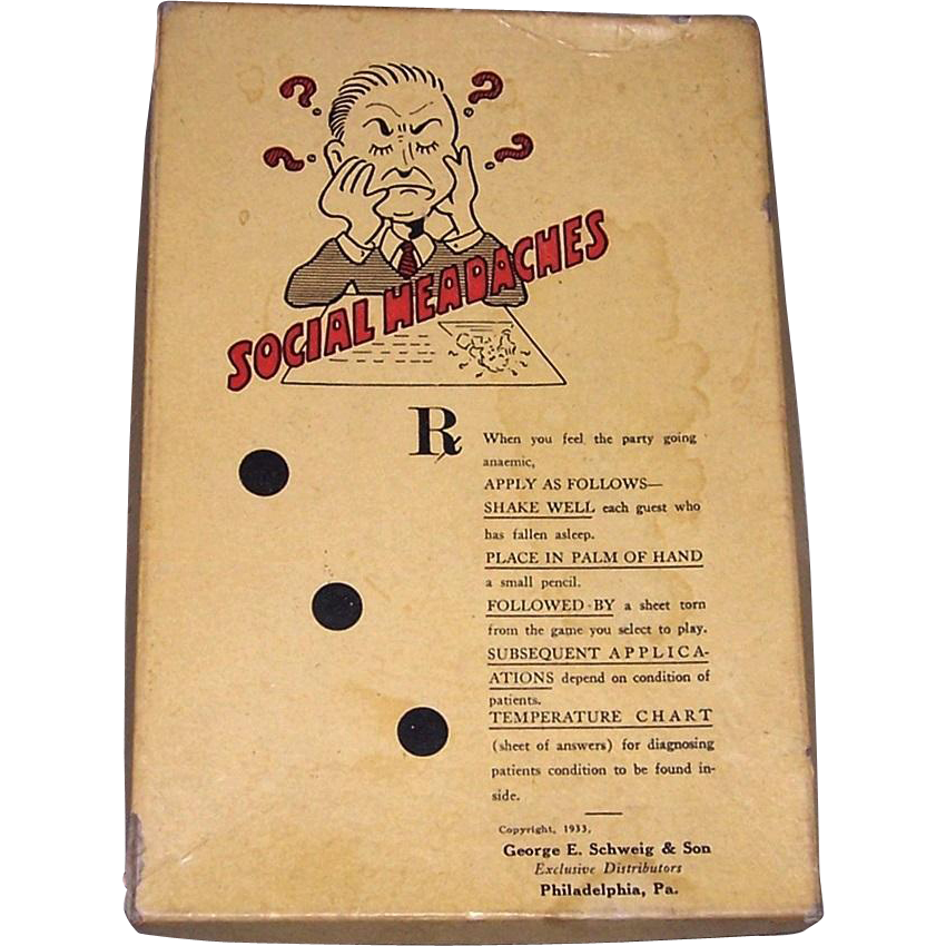 Vintage 1933 Social Headaches Party Game by G.E. Schweig & Son