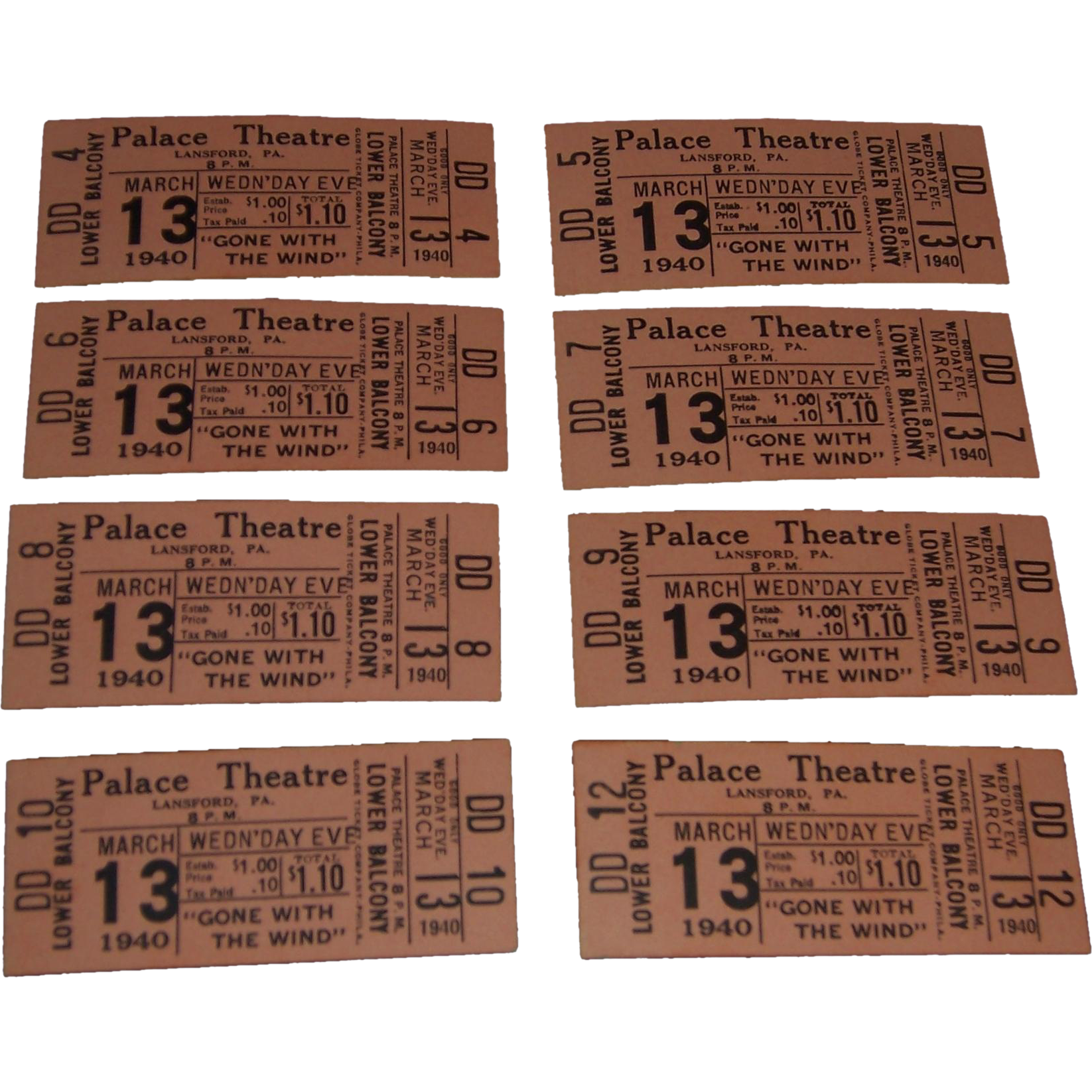 Eight Gone With the Wind Palace Theatre Movie Tickets, March 13th, 1940