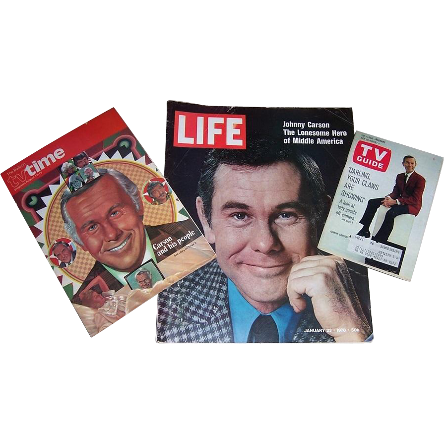 Johnny Carson Memorabilia--Life Magazine, TV Guide, TV Time