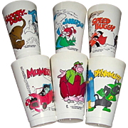 Six 1977 Slurpee Hanna-Barbera Cartoon Character Cups