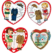 Four WWII Era Servicemen and Servicewomen Valentine Cards