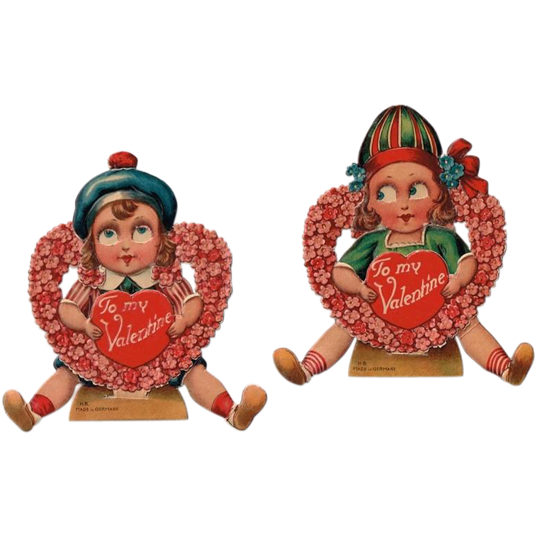 Two German Googly Big Eyed Girl and Boy Embossed Valentine Cards