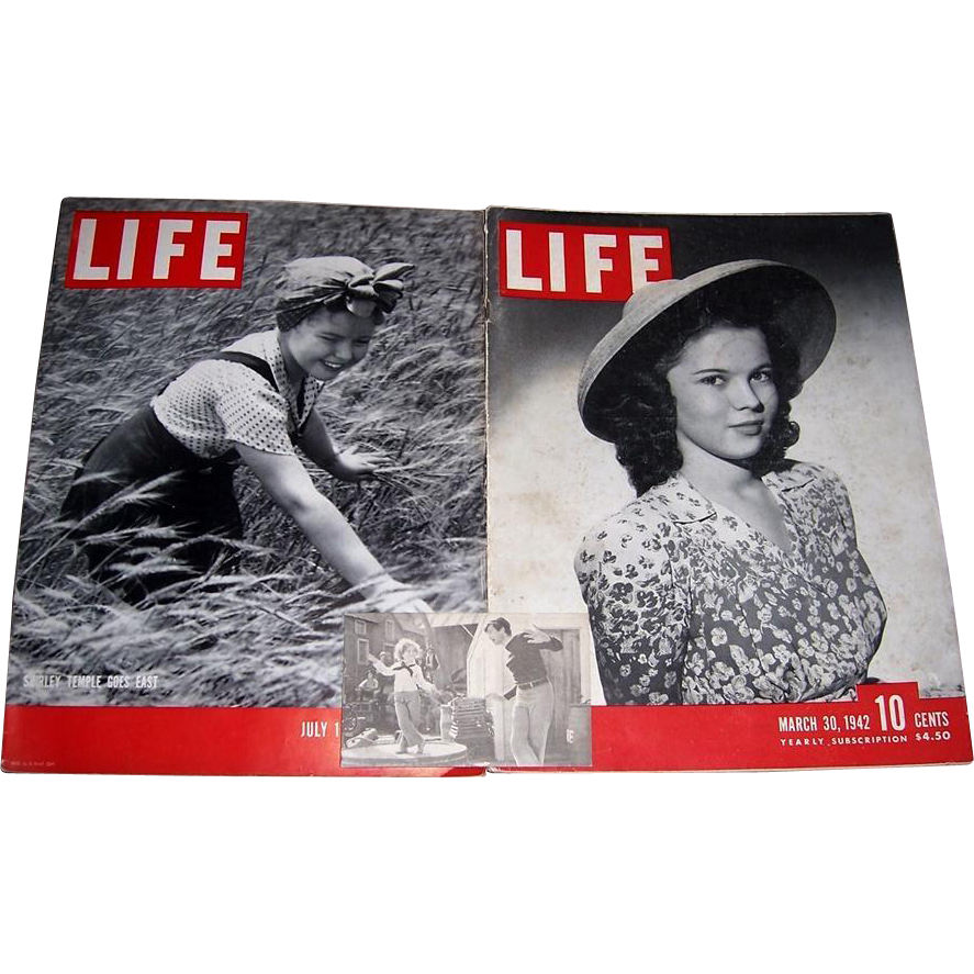 Shirley Temple Cover Life Magazines, July 1938, March 1942, and Shirley Temple and Buddy Ebsen Arcade Card