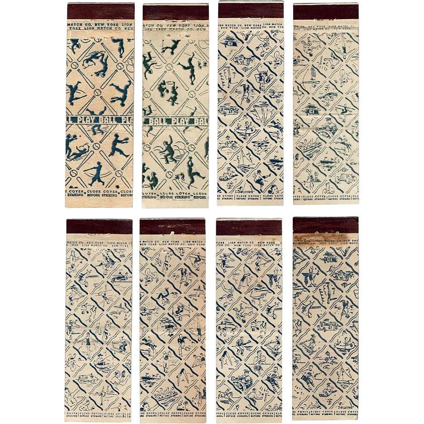 Eight 1930's Lion Match Co. Sport  Matchbook Covers