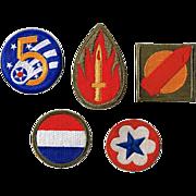 Five WWII Era Servicemen's Patches