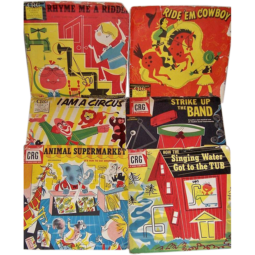 Six 1950's CRG 78RPM Children's Records