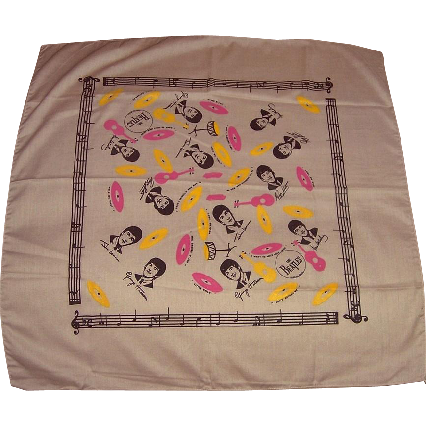 1964 Beatles Tan Scarf, Bandana