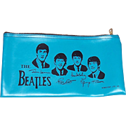 1964 Beatles Blue Vinyl Zipper Purse, Pencil Case