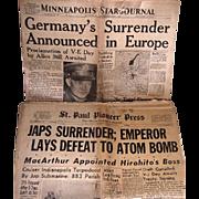 Two WWII Era 1945 Newspapers, Minneapolis Star & St. Paul Pioneer Press Newspapers