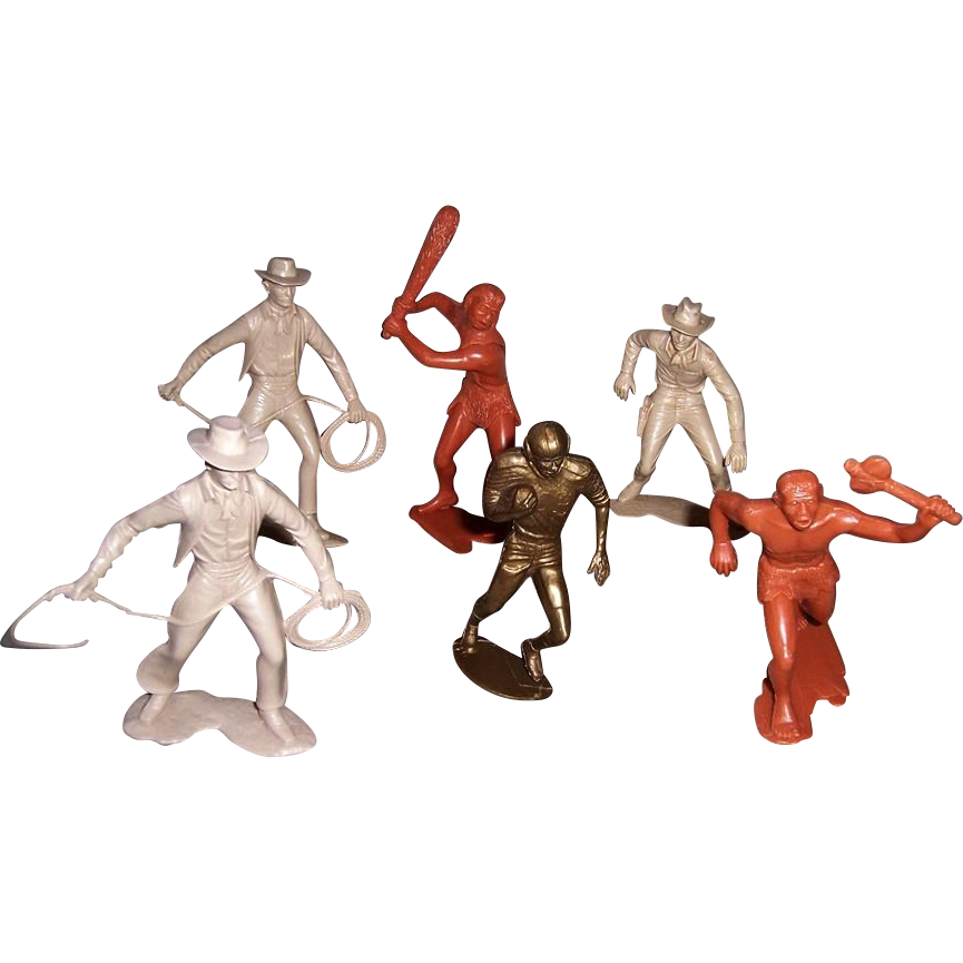 1960's Marx Cowboys and Cave Man Figures plus 1950's Unmarked Football Player