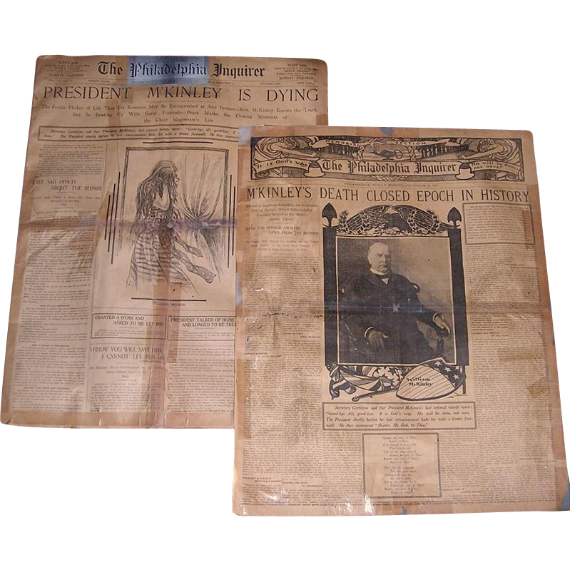 Two 1901 Philadelphia Inquirer's Newspapers The Death of President McKinley, September 14th and 29th