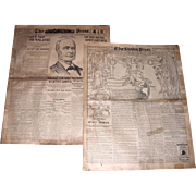 Two 1898 Spanish American War Newspapers, Philadelphia Press, June 30th and October 23rd