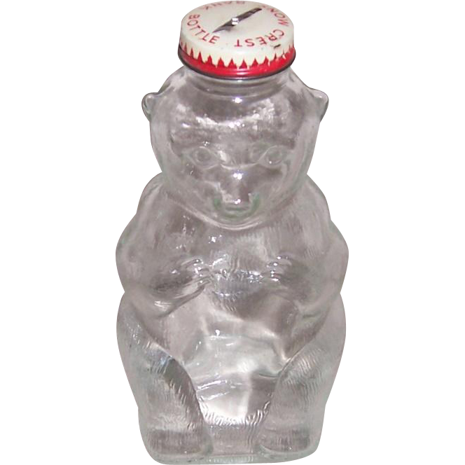 1950's Snow Crest Bear Glass Bottle Bank