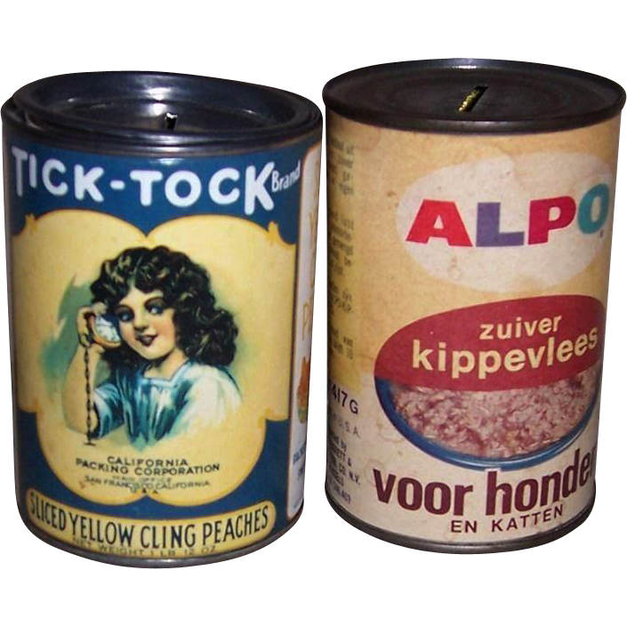 Two 1950's-60's Tick-Tock & Alpo Metal Coin Banks