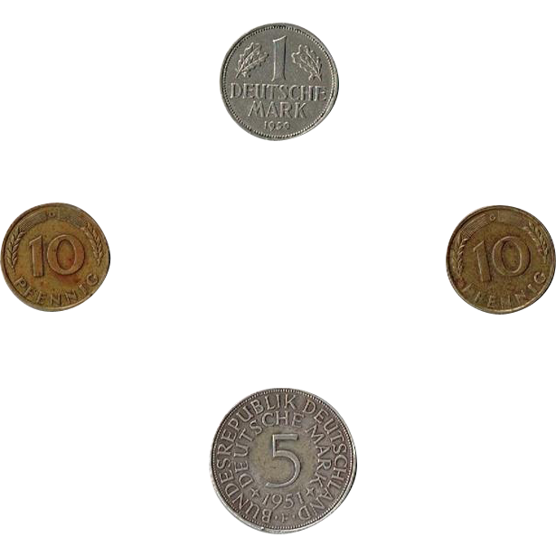 Four German Coins, Two 1949 10 PFENNIG's, One 1950 1 Mark, One 1951 5 Mark