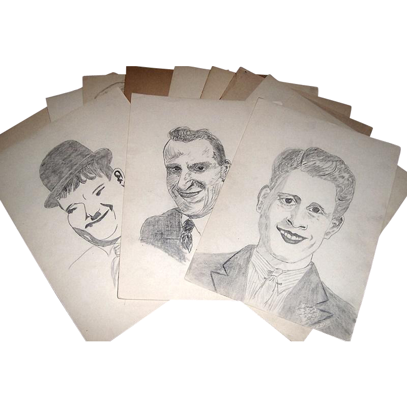 Twelve 1930's Artist Drawings by RWSY, Group One