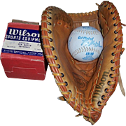 1950's Wilson Softball No. A 9100 and Wilson's The Big Scoop LH Softball Glove No. A 9886