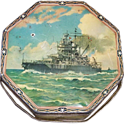 Pre-WWII Era 1937 Battleship Sunshine Biscuit Tin