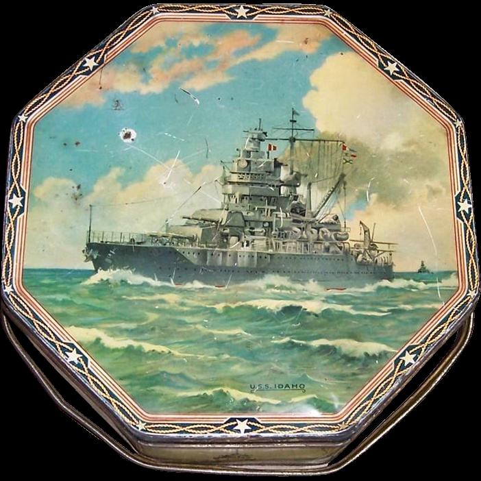 Pre-WWII Era 1937 Sunshine Biscuit Battleship Tin