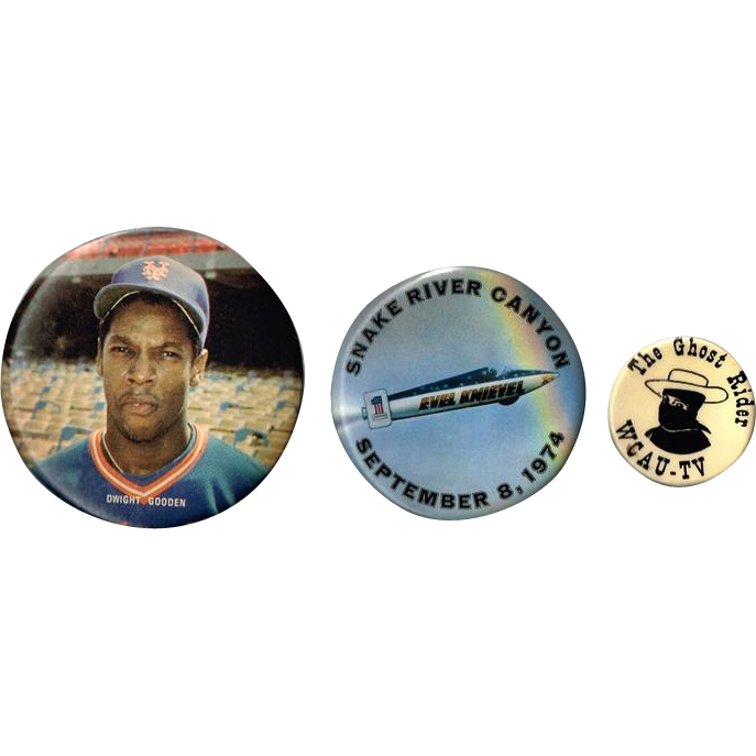 Dwight Gooden, Evel Knievel, and The Ghost Rider Pinback Buttons