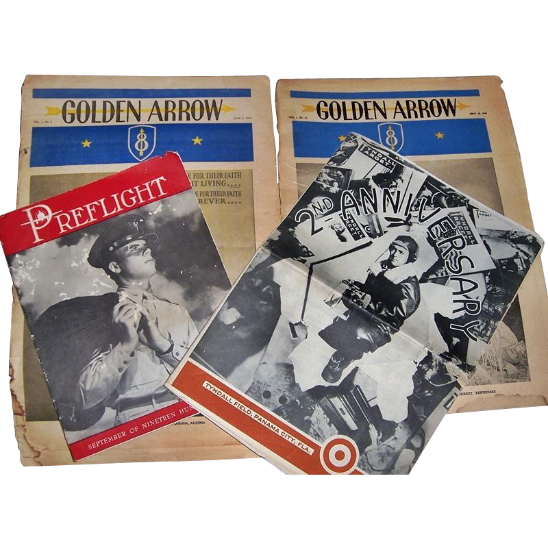 WWII Era 1942 PreFlight Magazine, 1944 Tyndall Target Camp Paper, and Two 8th Infantry 1943 Golden Arrow Camp Papers