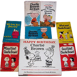 1979 Happy Birthday Charlie Brown Book and Seven Charlie Brown Paperbacks