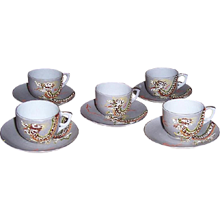 Five Occupied Japan Dragon Design Demitasse Cups and Saucers