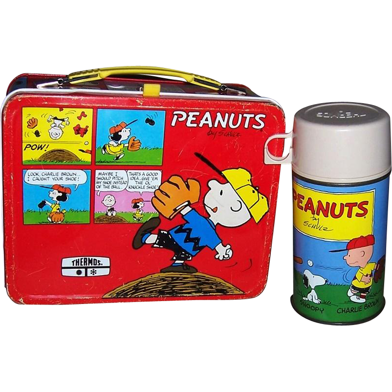 1976 Red Peanuts Metal Lunchbox and Thermos