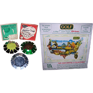 1930's and 1950's Golf Putting Discs and 1992 Golf ArtMap Jigsaw Puzzle