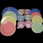 12 Pieces Hazel Atlas Little Hostess Child's Dishes and a Hazel Atlas Moderntone Child's Dish