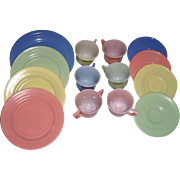 12 Pieces Hazel Atlas Little Hostess Child's Dishes and a Hazel Atlas Moderntone Child's Dish
