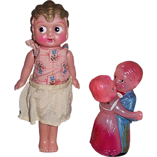 "Occupied Japan Wind-Up Dancing Couple & 7"" Googly Eyes Celluloid Doll"
