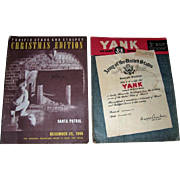 Rare December 25, 1946, Pacific Stars and Stripes Christmas Edition, and December 28, 1945, Yank Army Weekly