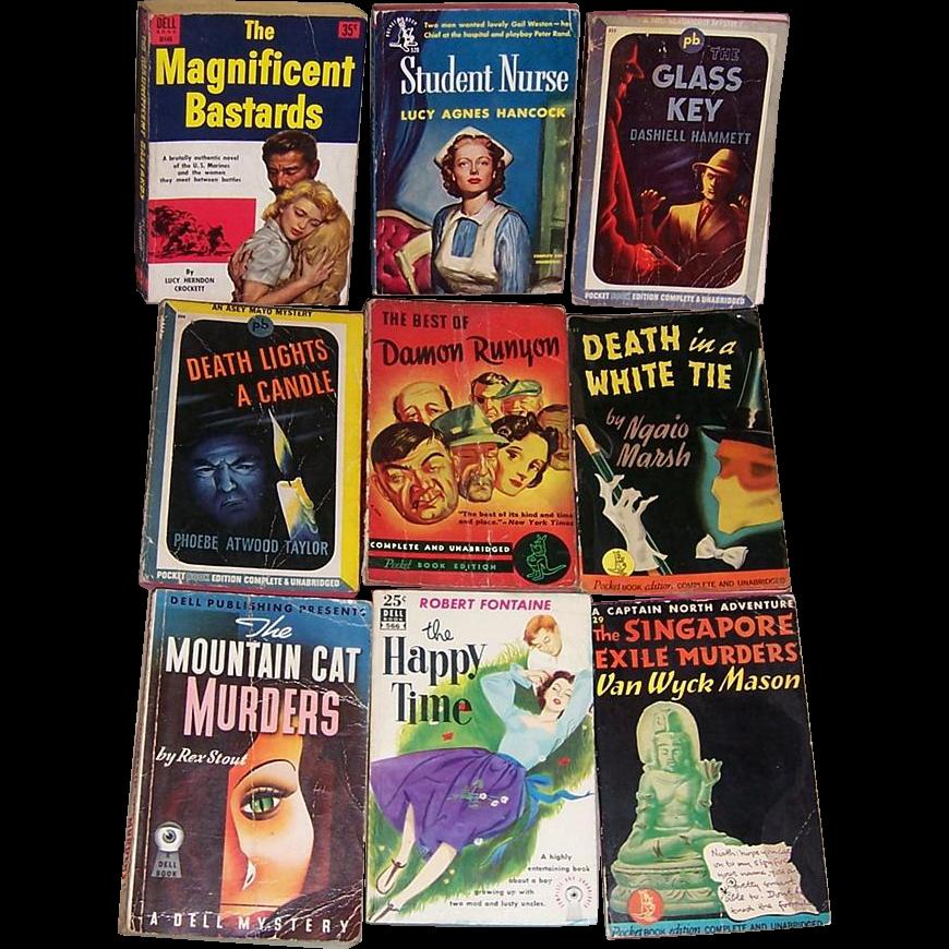 Nine Vintage Mystery Paperback Novels
