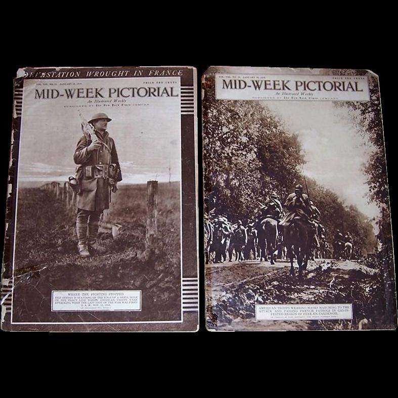Nine WWI Era 1918/1919 Mid-Week Pictorial Newspapers