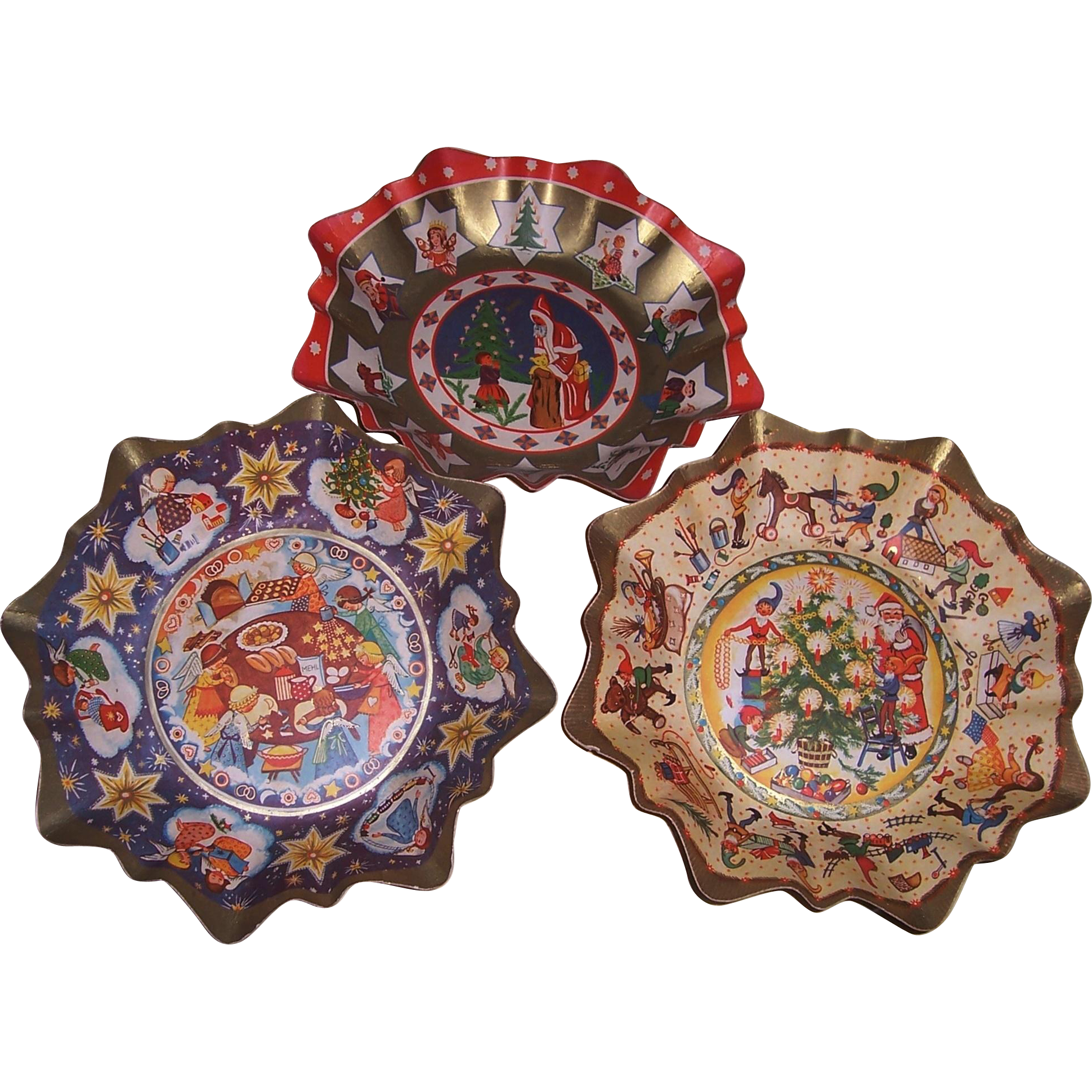 Three Early 20th Century Fluted Pressed Cardboard Christmas Bowls Made in Germany