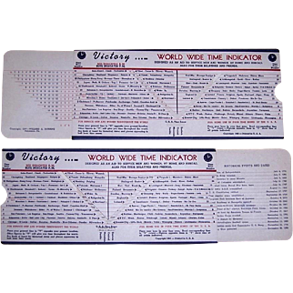 1945 Victory World Wide Time Indicator, WWII Aid to Service Men and Women