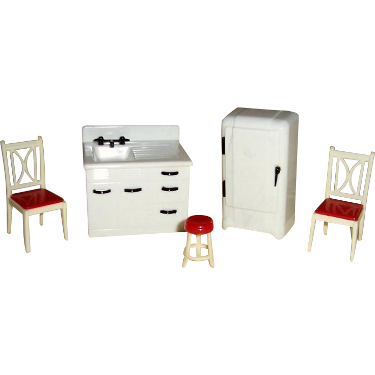Five Pieces Renwal Kitchen Doll House Furniture