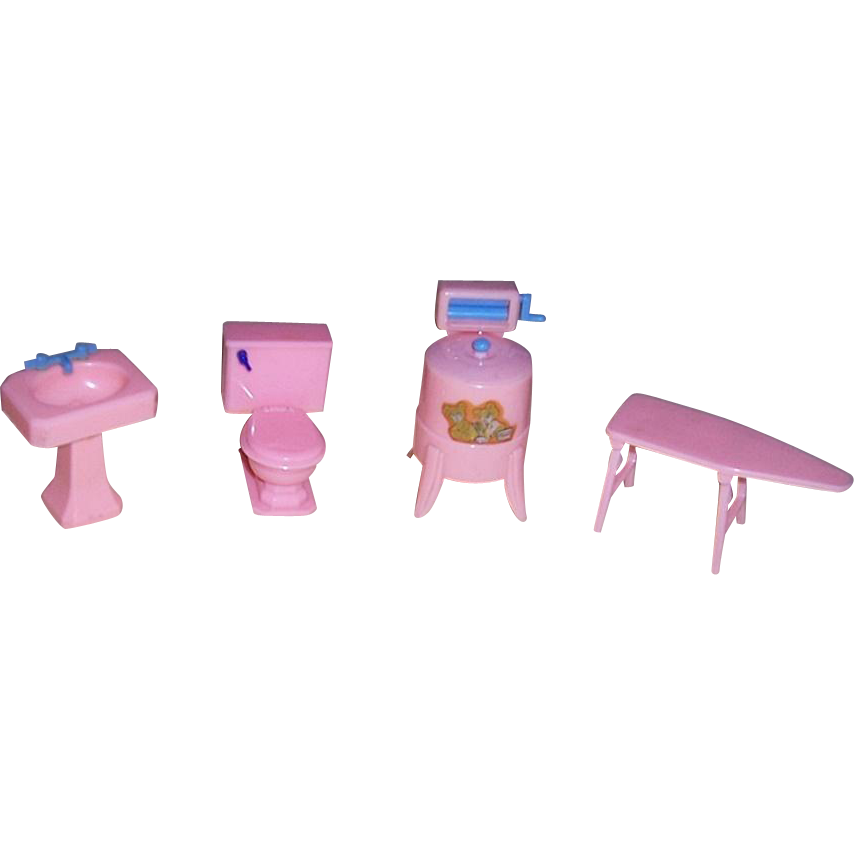 Four Pieces Renwal Bathroom and Laundry Room Doll House Furniture in Pink
