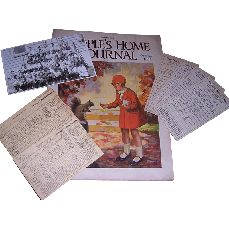 1920's Child's Report Cards, School Photo, and October 1928 People's Home Journal Magazine