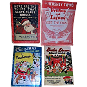 Three Vintage 1930's, 50's, 60's Store Christmas Activity Books and a Store Christmas Comic Book for Children