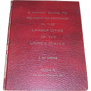 Rare 1974 Autographed First Edition of A Handy Guide To Record-Searching In The Larger Cities Of The United States