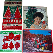 Four 1960's Classic Christmas Collectibles,  Puzzle, Record, Tinsel, and Cookie Cutters