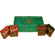 Philip Morris Cigarette Box with Green Gold Crest and Four Different Velvet Tobacco Tins